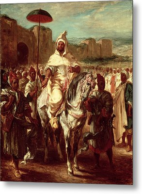 Abd Ar-rahman, Sultan Of Morocco, 1845 Oil On Canvas Metal Print by Ferdinand Victor Eugene Delacroix
