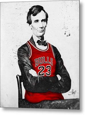 Abe Lincoln In A Bulls Jersey Metal Print by Roly Orihuela