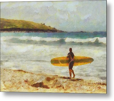 About To Surf Metal Print by Pixel Chimp