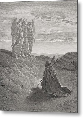 Abraham And The Three Angels Metal Print by Gustave Dore