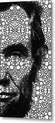 Abraham Lincoln - An American President Stone Rock'd Art Print Metal Print by Sharon Cummings