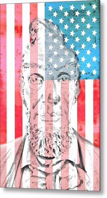 Abraham Lincoln Vintage American Flag Metal Print by Dan Sproul