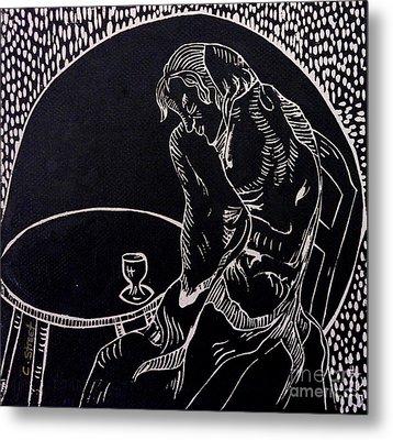 Absinthe Drinker After Picasso Metal Print by Caroline Street