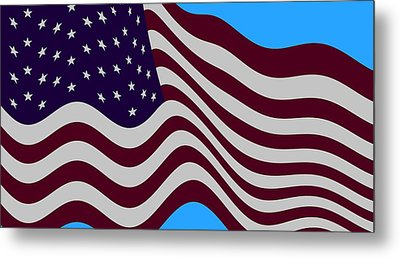 Abstract Burgundy Grey Violet 50 Star American Flag Flying Cropped Metal Print by L Brown