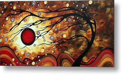 Abstract Art Original Circle Painting Flaming Desire By Madart Metal Print by Megan Duncanson