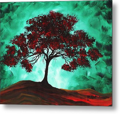 Abstract Art Original Colorful Tree Painting Passion Fire By Madart Metal Print by Megan Duncanson