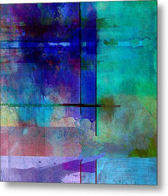 abstract-art-Rhapsody in Blue Square  Metal Print by Ann Powell