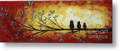 Abstract Bird Landscape Tree Blossoms Original Painting Family Of Three Metal Print by Megan Duncanson