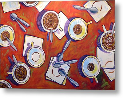Abstract Coffee Art ... The Get Together Metal Print by Amy Giacomelli