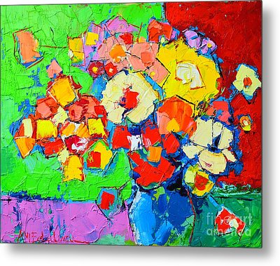 Abstract Colorful Flowers Metal Print by Ana Maria Edulescu
