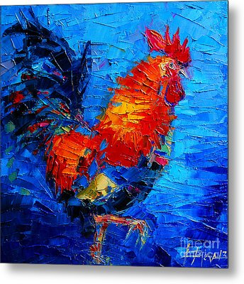 Abstract Colorful Gallic Rooster Metal Print by Mona Edulesco