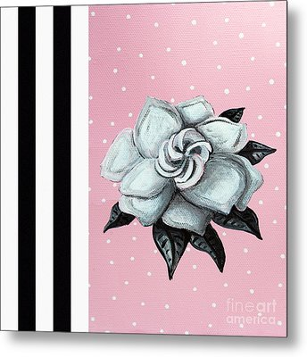 Abstract Contemporary Whimsical Pink Painting Gardenia Flower By Madart Metal Print by Megan Duncanson