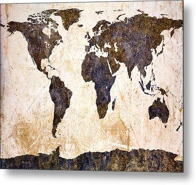 Abstract Earth Map Metal Print by Bob Orsillo