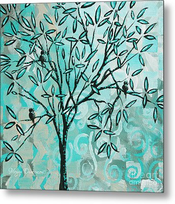 Abstract Floral Birds Landscape Painting Bird Haven II By Megan Duncanson Metal Print by Megan Duncanson