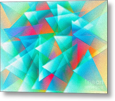 Abstract Geometry Of Triangles In Digital Art Metal Print by Mario Perez