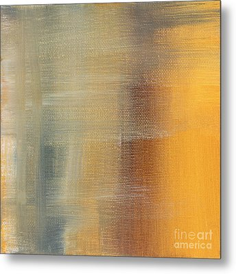 Abstract Golden Yellow Gray Contemporary Trendy Painting Fluid Gold Abstract I By Madart Studios Metal Print by Megan Duncanson