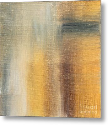 Abstract Golden Yellow Gray Contemporary Trendy Painting Fluid Gold Abstract II By Madart Studios Metal Print by Megan Duncanson