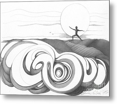 Abstract Landscape Art Black And White Yoga Zen Pose Between The Lines By Romi Metal Print by Megan Duncanson