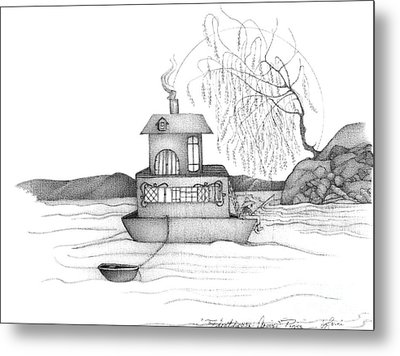 Abstract Landscape Art Black And White Boat House Annies River By Romi Metal Print by Megan Duncanson