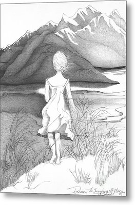 Abstract Landscape Art Black And White Dream The Jumping Off Place By Romi Metal Print by Megan Duncanson