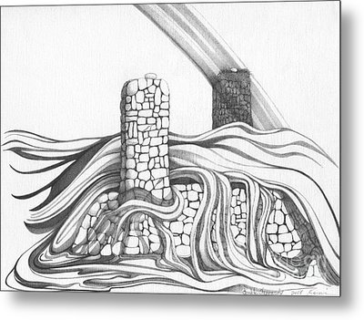 Abstract Landscape Art Black And White Home Double Jeopardy By Romi Metal Print by Megan Duncanson