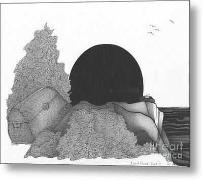 Abstract Landscape Art Black And White Landscape Dead Mans Chest By Romi Metal Print by Megan Duncanson