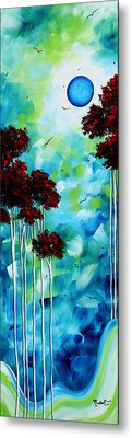 Abstract Landscape Art Original Tree And Moon Painting Blue Moon By Madart Metal Print by Megan Duncanson