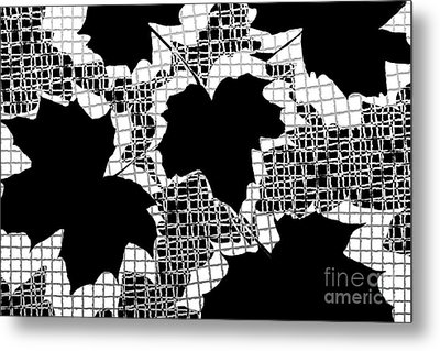 Abstract Leaf Pattern - Black White Grey Metal Print by Natalie Kinnear