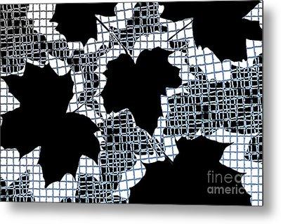 Abstract Leaf Pattern - Black White Light Blue Metal Print by Natalie Kinnear