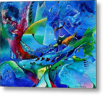 Abstract Mindscape No.5-improvisation Piano And Trumpet Metal Print by Wolfgang Schweizer