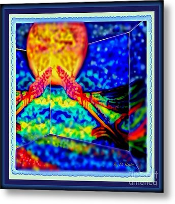 Abstract Of Dragonfly In A House Of Mirrors With Melting Moon Metal Print by Kimberlee Baxter
