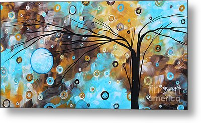 Abstract Painting Chocolate Brown Whimsical Landscape Art Baby Blues By Madart Metal Print by Megan Duncanson