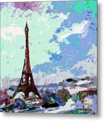 Abstract Paris Memories In Blue Metal Print by Ginette Callaway