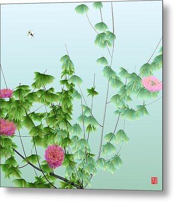 Abstract Peony Wasp Metal Print by GuoJun Pan