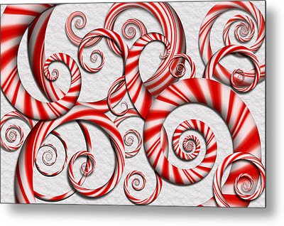 Abstract - Spirals - Peppermint Dreams Metal Print by Mike Savad