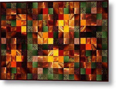 Abstract Squares Triptych Gentle Brown Metal Print by Irina Sztukowski