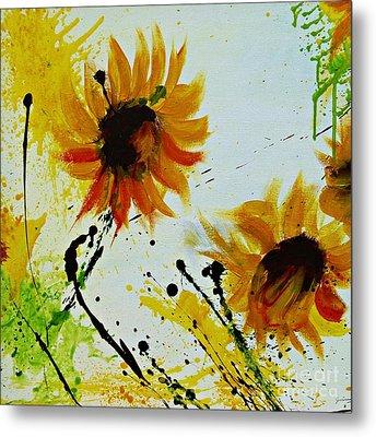 Abstract Sunflowers 2 Metal Print by Ismeta Gruenwald