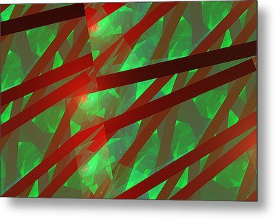 Abstract Tiled Green And Red Fractal Flame Metal Print by Keith Webber Jr