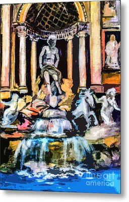 Abstract Trevi Fountain Rome Italy Metal Print by Ginette Callaway