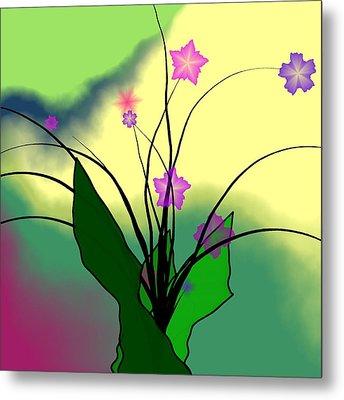 Abstract Violets Metal Print by GuoJun Pan