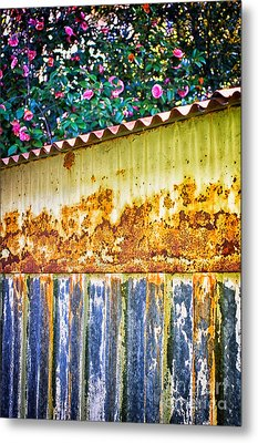 Abstract Weathered Metal Cabin Detail Metal Print by Silvia Ganora