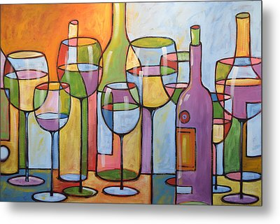 Abstract Wine Dining Room Bar Kitchen Art ... Time To Relax Metal Print by Amy Giacomelli