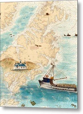 Accomplice Kodiak Crab Fishing Boat Nautical Chart Map Art Metal Print by Cathy Peek