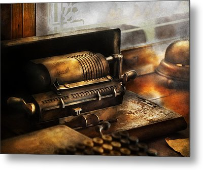 Accountant - The Adding Machine Metal Print by Mike Savad