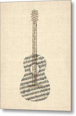 Acoustic Guitar Old Sheet Music Metal Print by Michael Tompsett