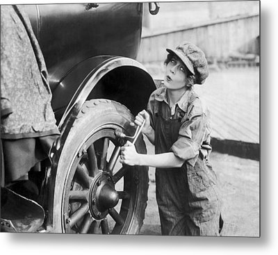 Actress Working On Her Car Metal Print by Underwood Archives