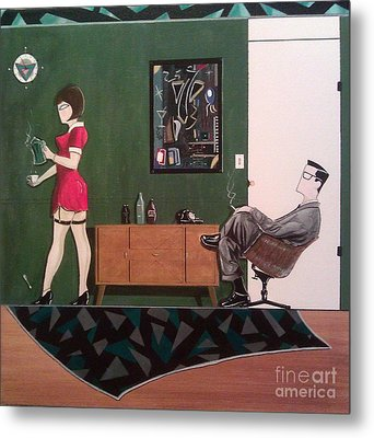 Ad Man Sitting In Chair Steadily Watching Coffee Girl Metal Print by John Lyes