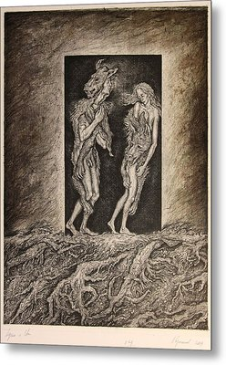 Adam And Eve Metal Print by Leonid Stroganov