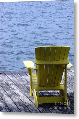 Adirondack Chair On Dock Metal Print by Olivier Le Queinec