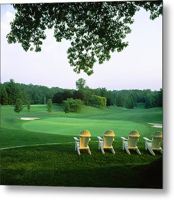 Adirondack Chairs In A Golf Course Metal Print by Panoramic Images